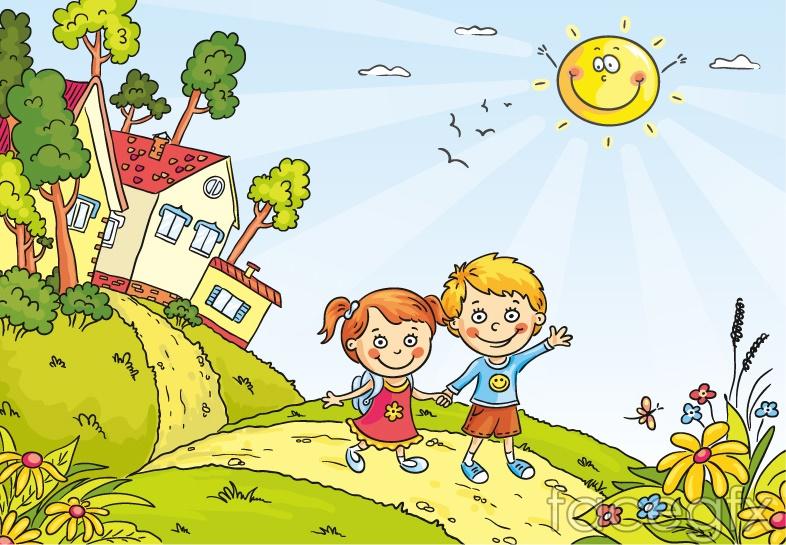 Two children cartoon vector illustration