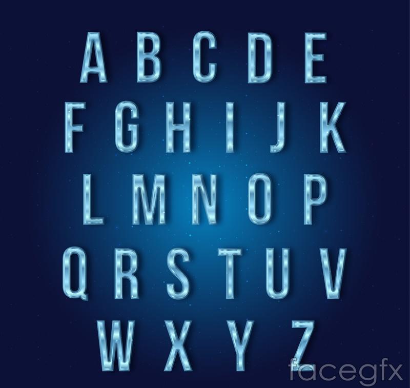26 blue ice crystal alphabet vector