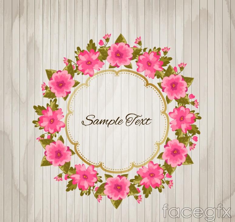 Pink flowers wood grain background vector