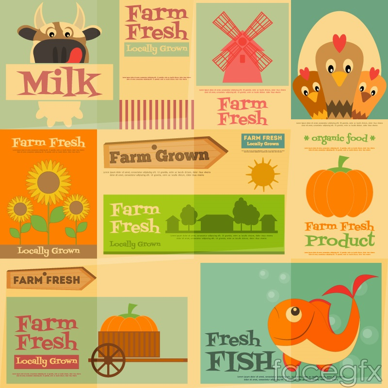 9 vintage poster of agricultural products vector