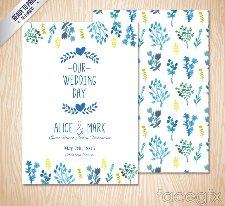 Blue watercolor floral wedding invitation card vector