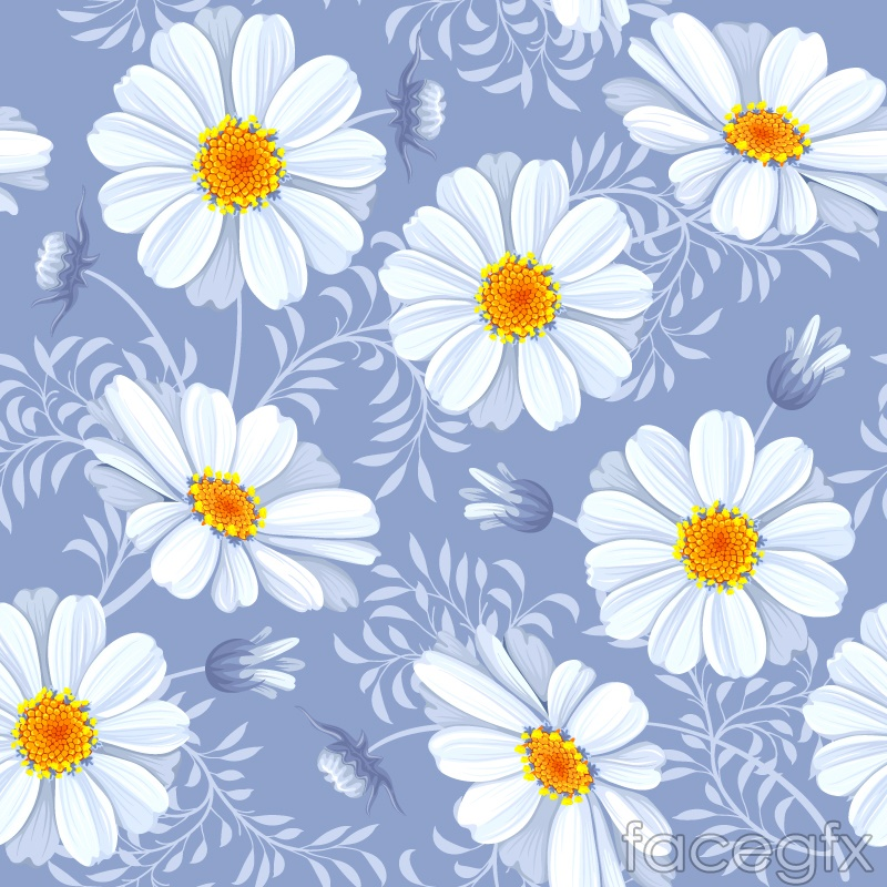 White Cosmos seamless vector background