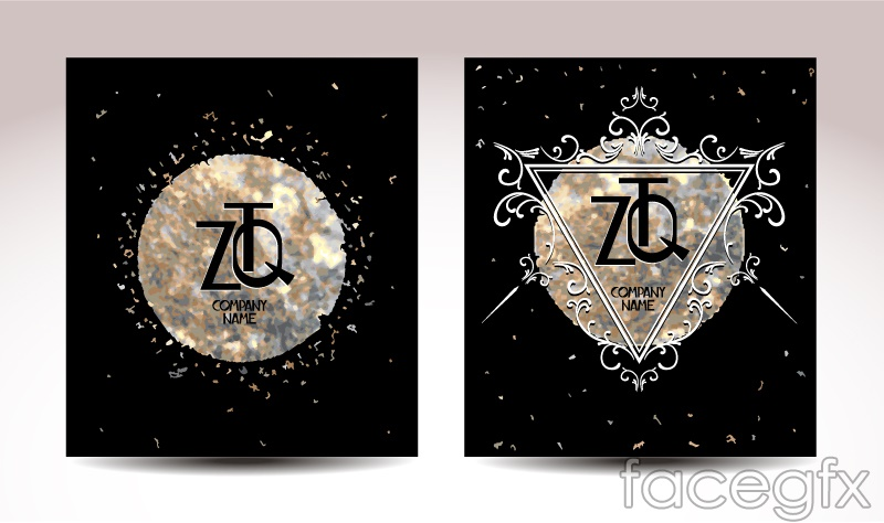2 gorgeous card black design vector