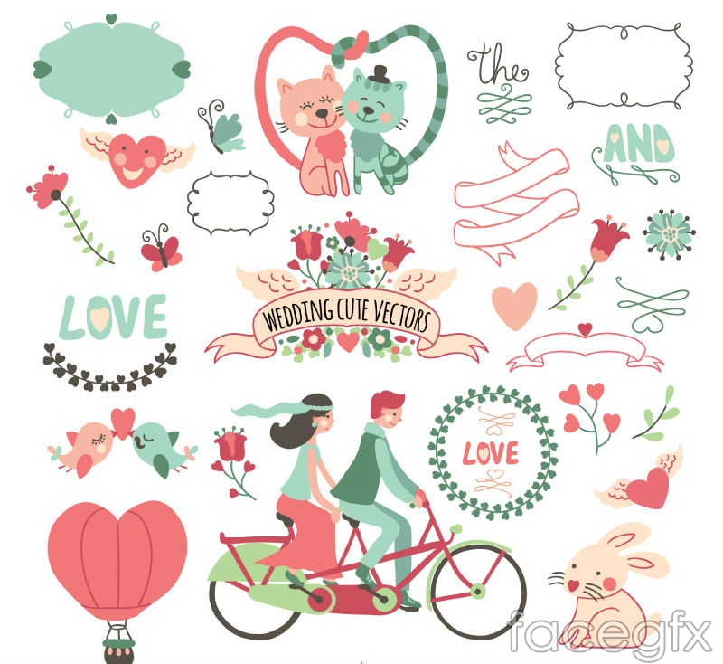 27 lovely wedding element vector