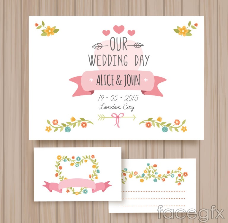 3 cartoon floral wedding card vector