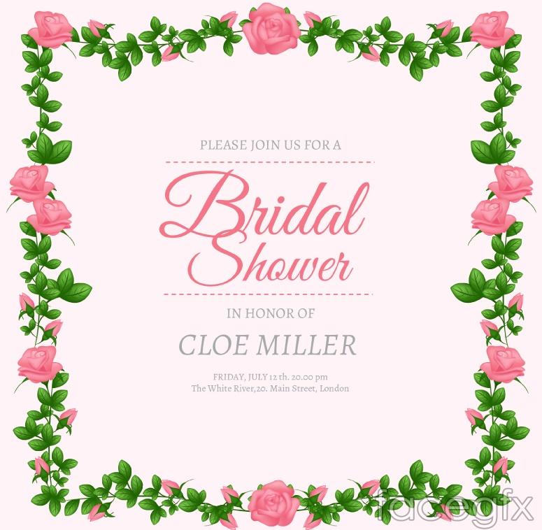 Rose bridal shower invitation poster vector graphics