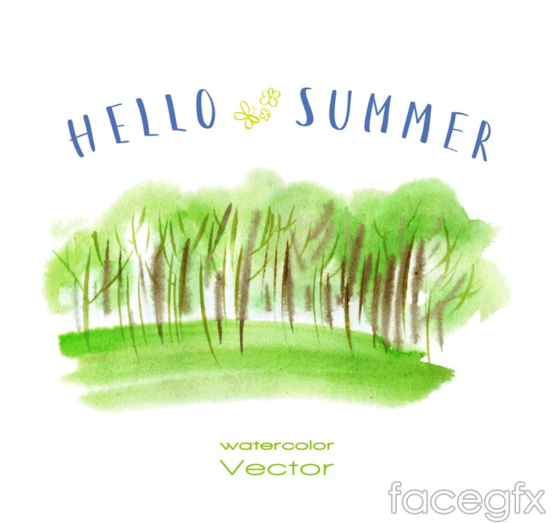 Water stained Woods and meadows vector