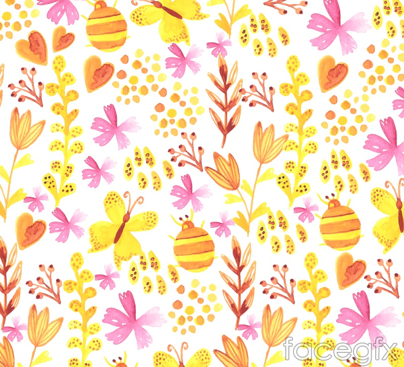 Watercolor flowers and butterflies seamless vector background illustration