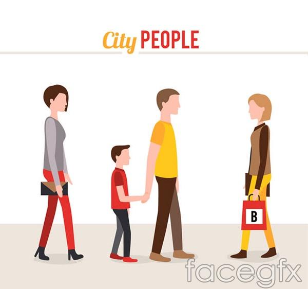 Cartoon town characters vector