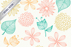 Seamless leaves background painted flowers vector