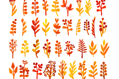 47 water stained leaves and flowers vector