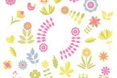 Fun colorful flowers vector