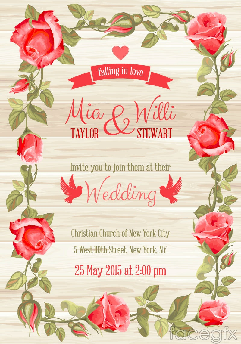 Red Rose Border Wedding Invitation Card Vector Free Download