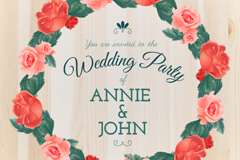 Rose wreath wedding party poster vector graphics
