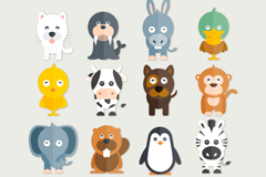 16 flat animal design vector
