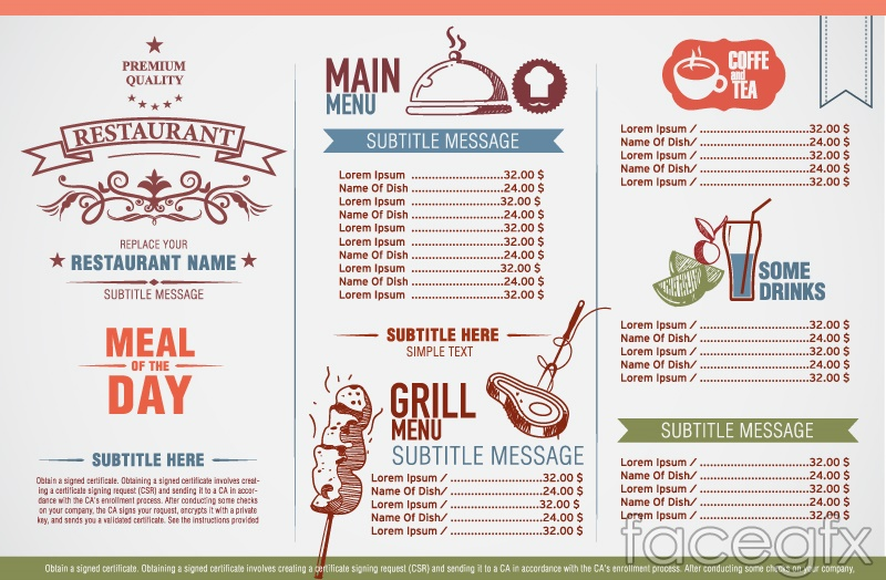 Vintage elegant restaurant menu design vector | Free download