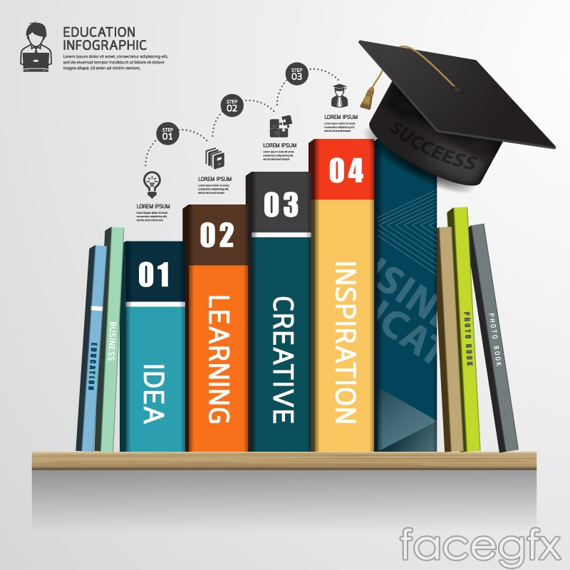 Color book learning infographic vector