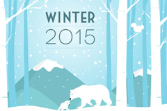 2015 winter polar bear cartoon vector images