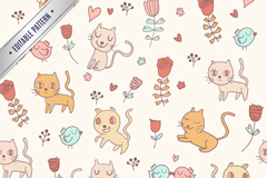 Cartoon cat seamless vector background illustration