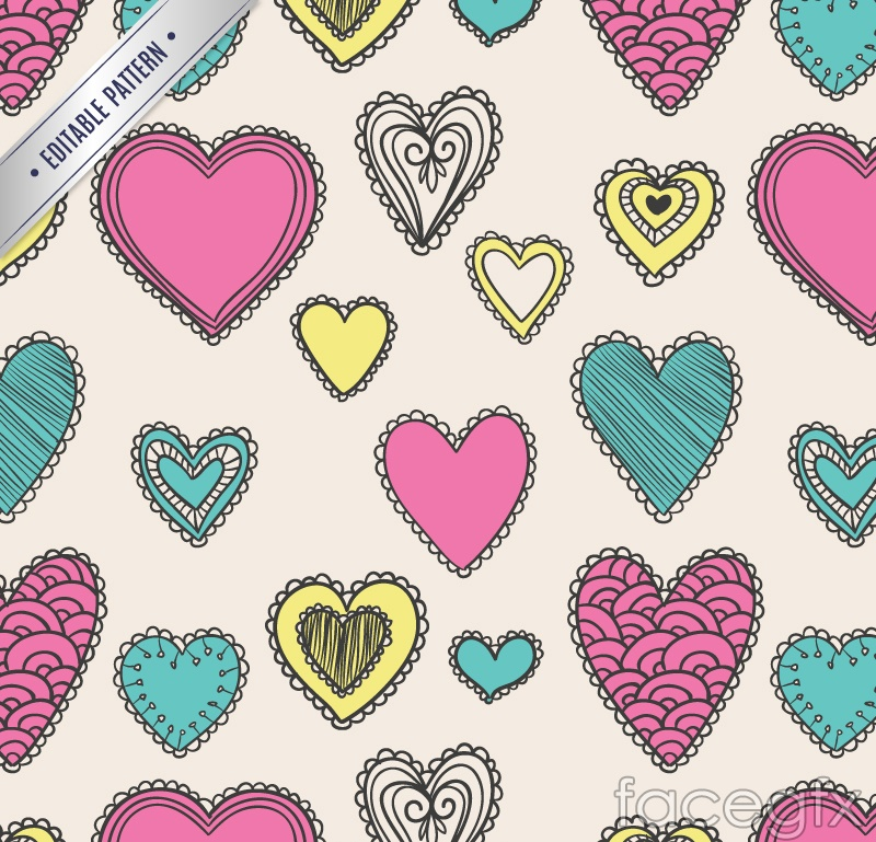 Painted love seamless vector background illustration