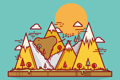 Creative mountain bear vector illustration