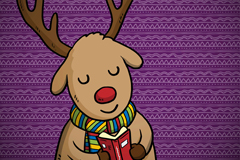 Reading cartoon reindeer vector