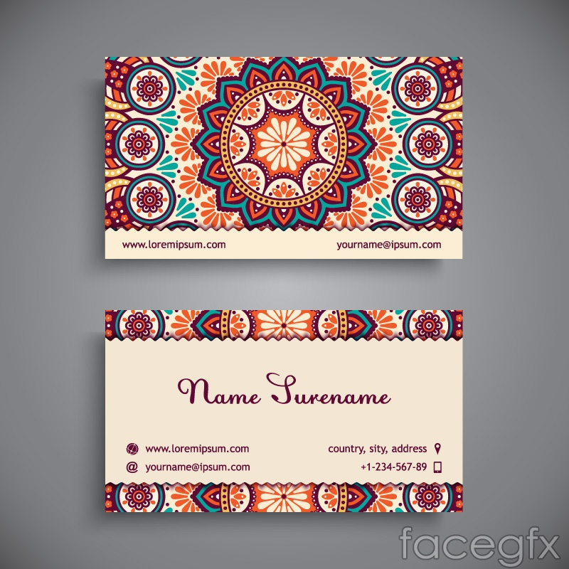 Stylish patterns business cards vector