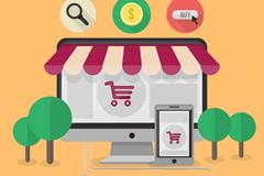 Cartoon e-commerce vector illustration