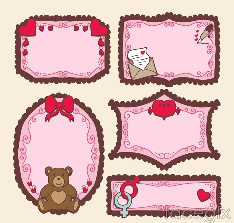 5 pink blank card vector
