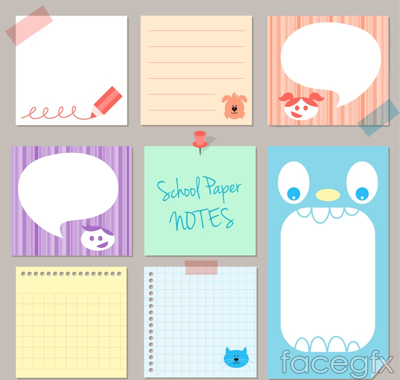 8 color sticky note vector