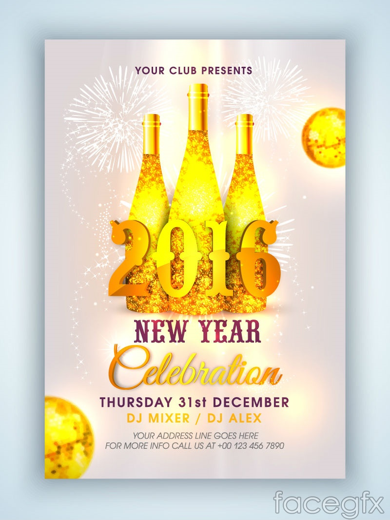Gold champagne party poster vector graphics