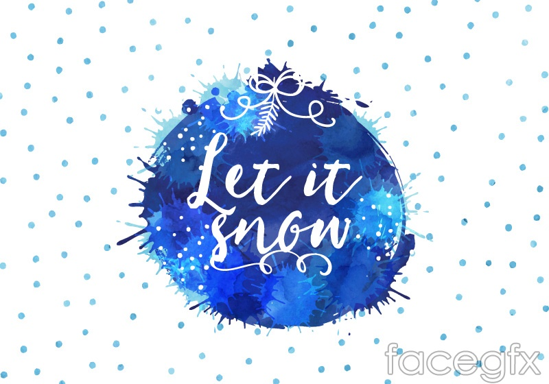 Painted snowflake blue water background vector