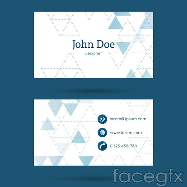 Triangular background business cards vector