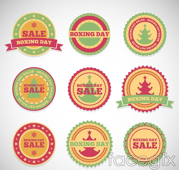 Boxing day sale tags vector