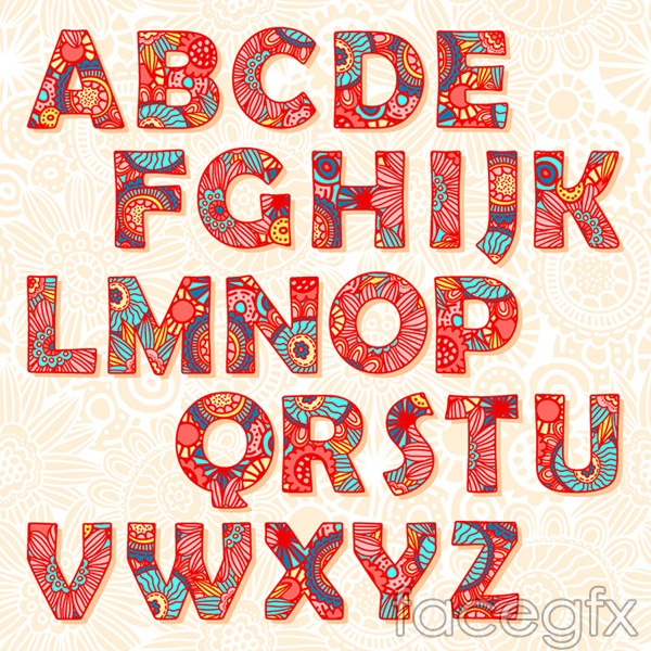 Paisley pattern letters vector