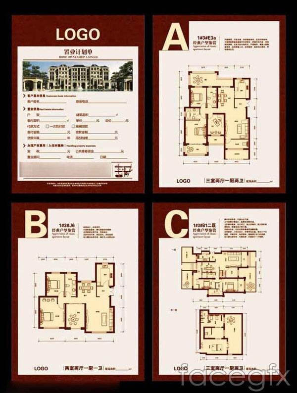 Building floor plan flyers vector