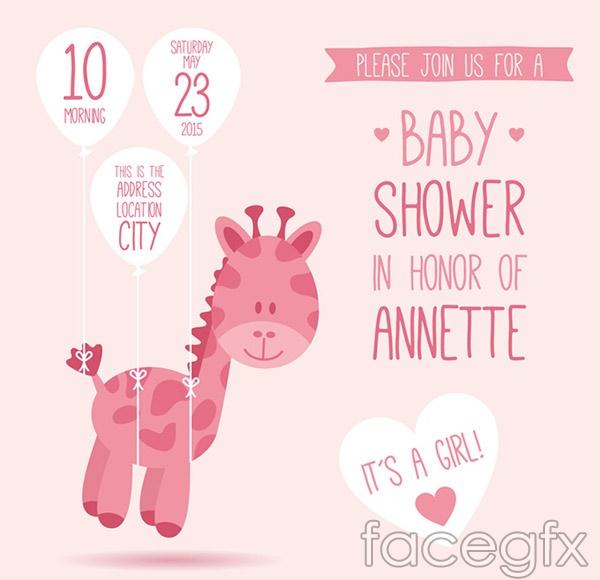 Giraffe baby party vector