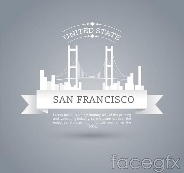 Golden Gate Bridge labels vector