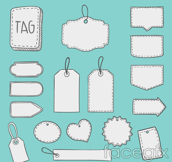Hand-painted blank hang tags vector