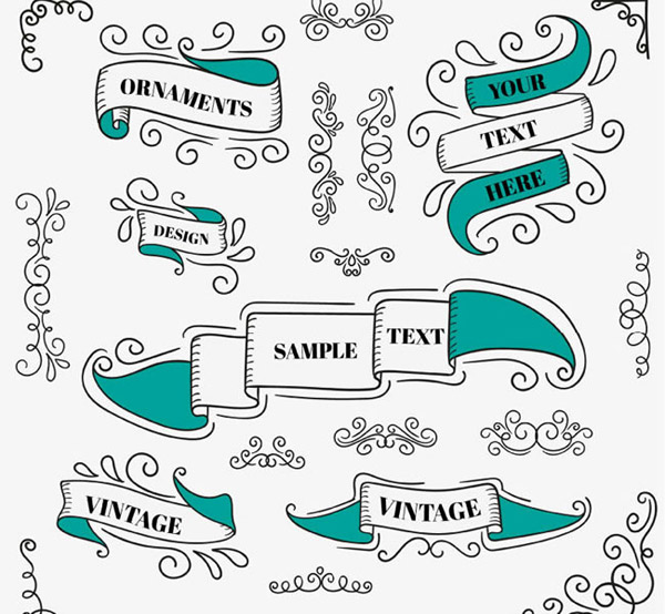 Retro pattern with Ribbon vector
