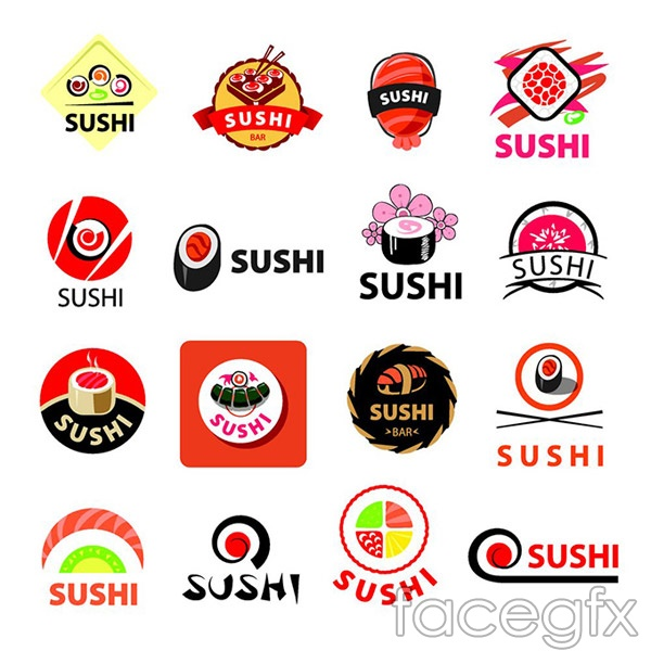 Sushi food tags vector