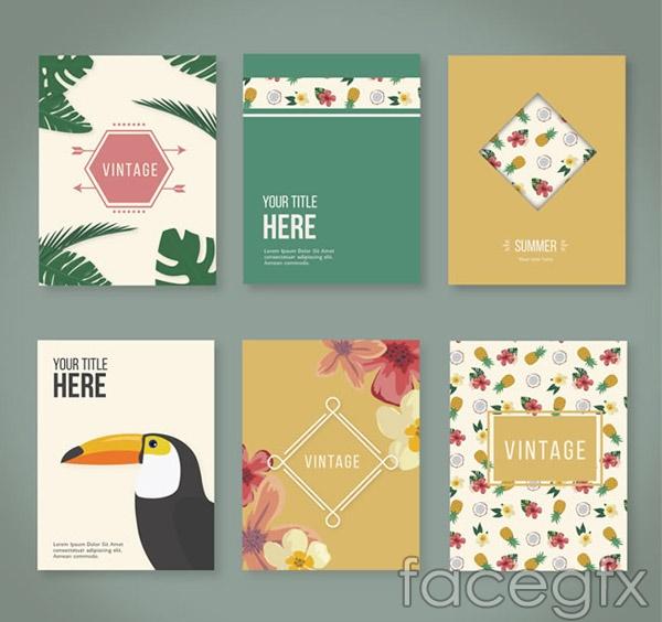 Tropical flower cards vector