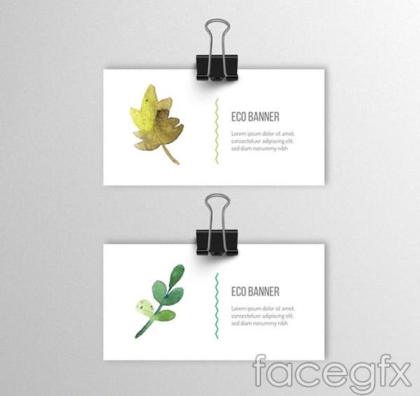Watercolor leaf cards vector
