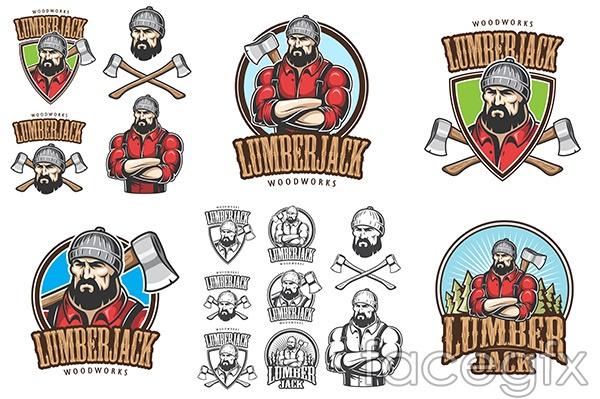 Lumberjack label design vector