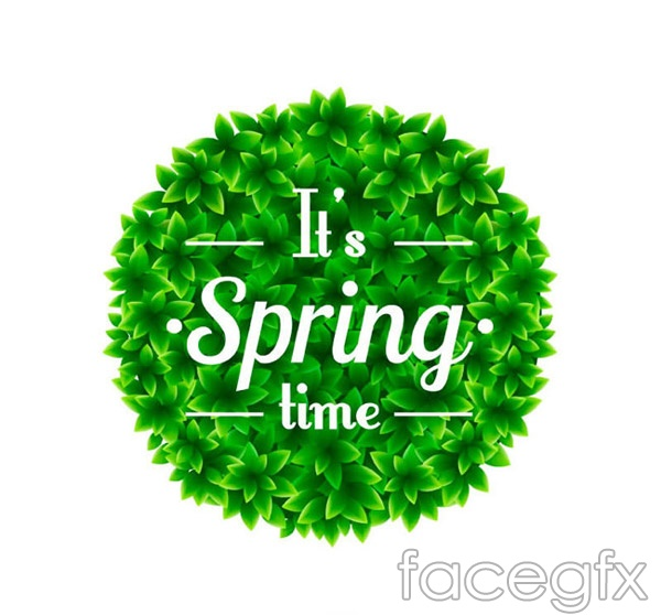 Spring leaves packing circles vector