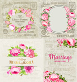 Hand-painted flowers decorative elements vector