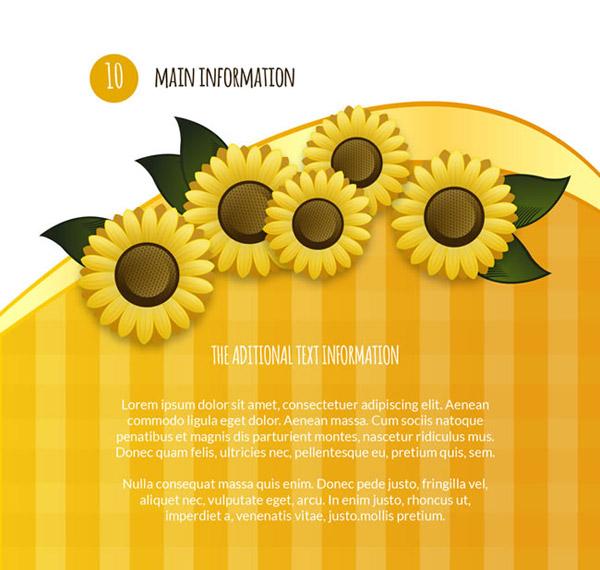Yellow sunflowers background vector