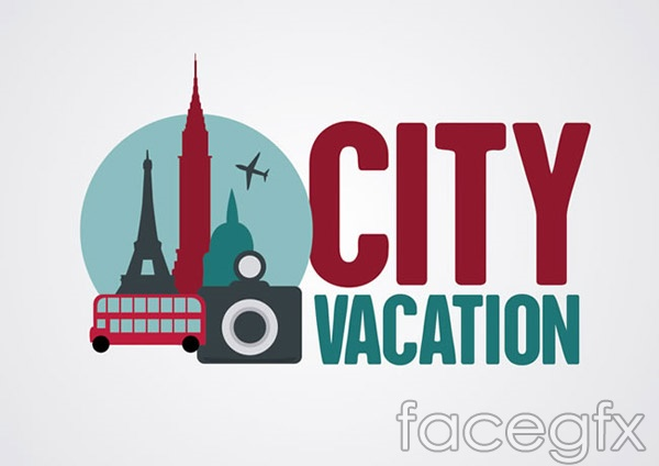 City travel hotel in background vector