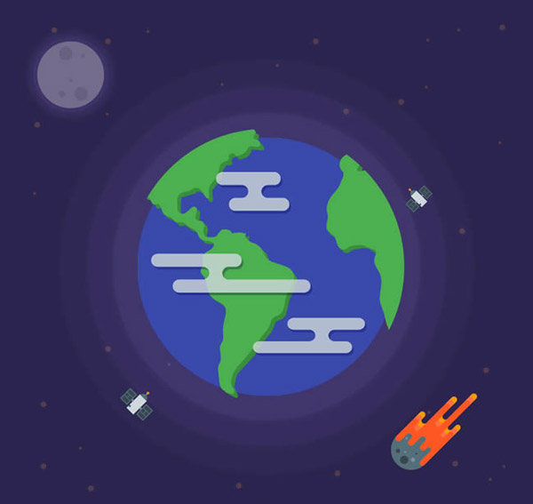 Earth and the rocket vector