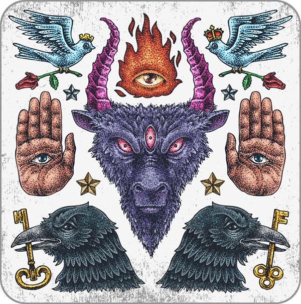Europe, evil tattoo designs vector